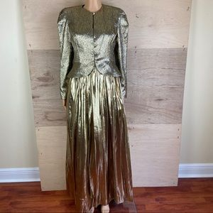 Vintage Lee Jordan Gold Gown and Blazer Si…